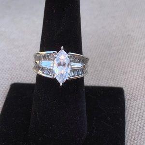 Vintage sterling CZ statement ring